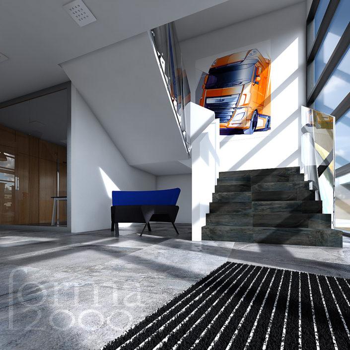 Wizualizacje pomieszczeń biurowych - schody