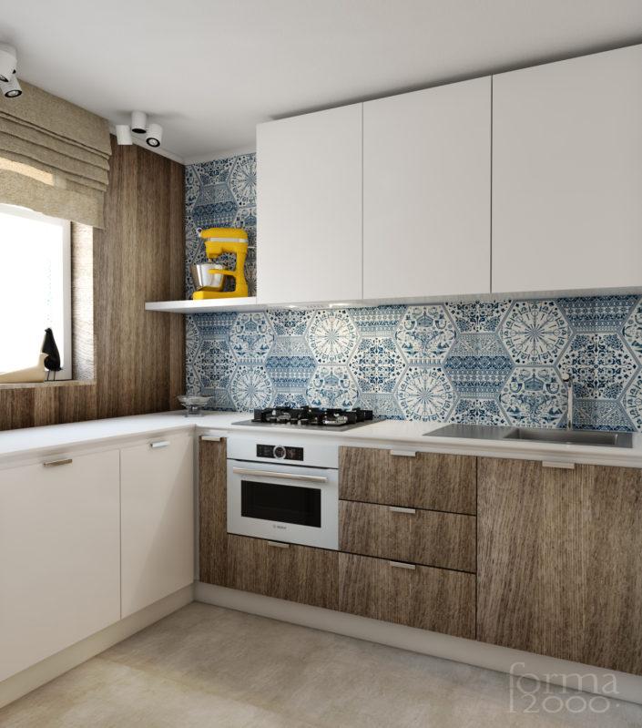 Wizualizacja koncepcji projektu mieszkania - kuchnia