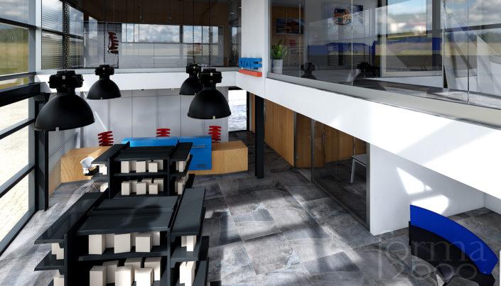 Wizualizacje pomieszczeń biurowych - recepcja