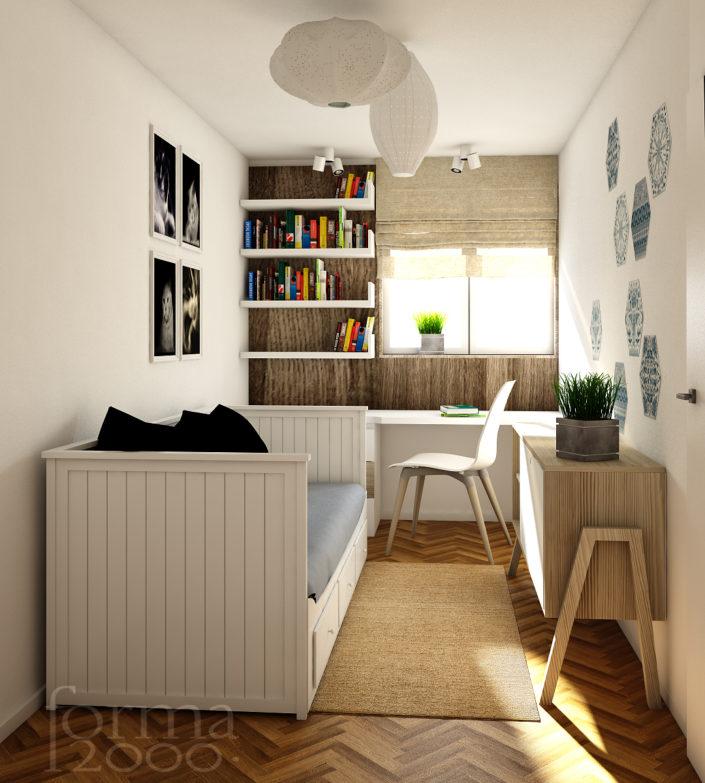 Wizualizacja koncepcji projektu mieszkania - pokój