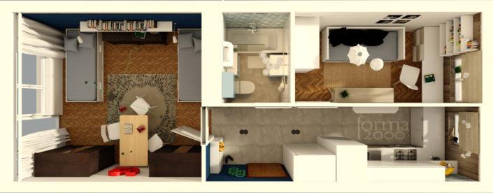 Wizualizacja koncepcji projektu mieszkania