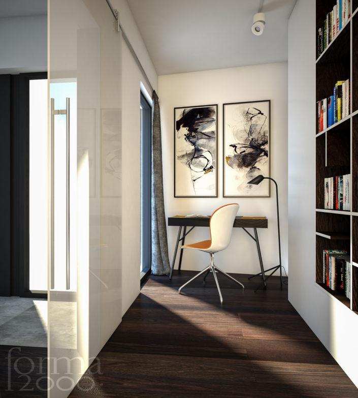 Wizualizacje 3d Dom jednorodzinny - domowe biuro